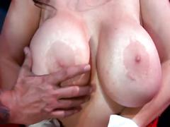 Monster tits momma double cock drilling fun