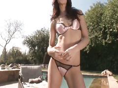 Lovely brunette pussy for black cock invasion