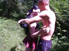 Brunette chick sucks cock before getting fucked outdoors