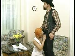 Orange haired teen gets fucked hardcore by horny cowboy