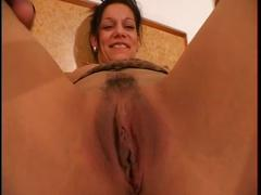 Horny young bitch gets her trimmed pussy pounded hard