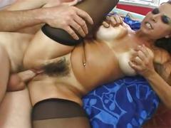 Masturbating milf gets screwed