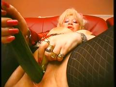 Amateur mature whore fucks vegetables and bottles