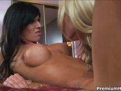 Lesbian babes cassie young and kenzi marie using dildos