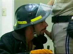 Cum loving gay daddies in uniform hammering hungry mouths