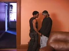 Horny black dudes fucking hard in the sofa