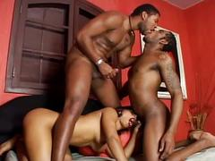Sizzling hot black fest with hot ebony babe and two monster cocks