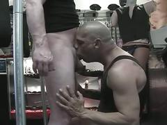 Horny pig daddy down on his knees licking stiff cock for hot fun