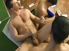 Awesome foursome hardcore drilling with horny football studs