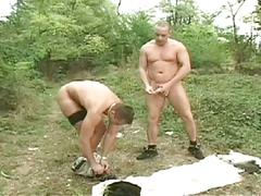 Horny cum eating gay studs sizzling hot outdoor anal assault