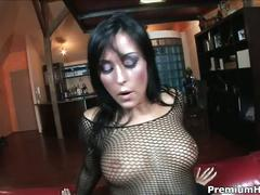 Busty brunette babe simone style in fishnets riding huge cock