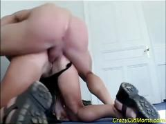 Horny old mom enjoys a fuck from two studs