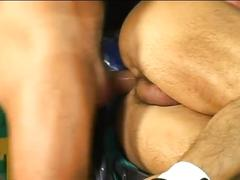 Horny guys in an intense fuck fest at work