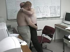 Two horny chubs sucking cock at the office