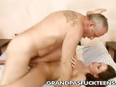 Horny grandpa gives wibeke a good fucking