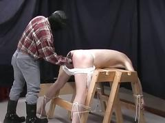 Slave gay guy gets tied up and abused by a perverted stud