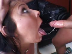 Sexy brunette gets pussy pounded hard