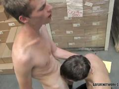 Horny twinks spanked by boss after caught fucking ass at work