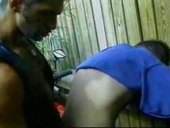 Muscled gay bear police officer strips down for some outdoor fuck