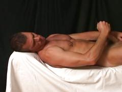 Horny muscled stud solo cock playing and hot ass toying session