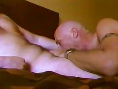 Hot bald bears jerking off hard in bed