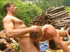 Super fiery threesome anal pounding session in the woods