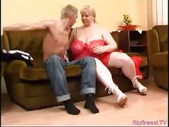 Fat blonde babe with monster tits gets drilled