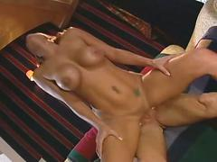 Hot brunette bitch gets fucked big tits licked