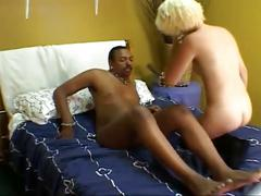 Blonde takes big black cock in her tight pussy