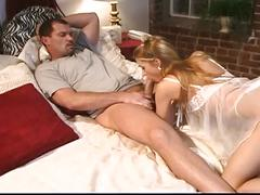 Blonde babe seduces her husband's big dick