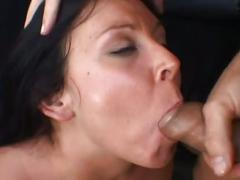 Brunette mom julie night first time double cock trouble