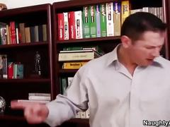 Brunette bitch gets fucked in office