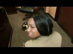 Sexy ebony babe casting pov interracial fuck