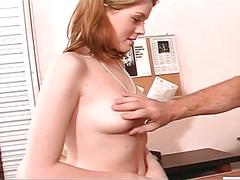Young brunette babe's pussy drilled in office
