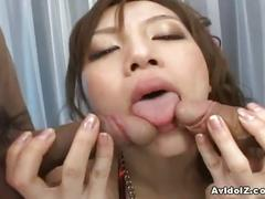 Hairy japanese pussy taking two cocks