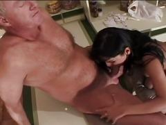 Busty brunette for daddy's old huge cock
