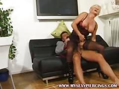 Pierced granny milf in black opaque stockings fucked