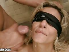 Czech hottie klarisa leone blindfolded and fucked by two