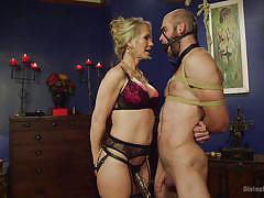 milf, whip, femdom, bdsm, strapon, tied, sex toys, sexy lingerie, blonde mistress, ballgag, divine bitches, kink, simone sonay, john smith