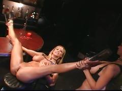 Massive tits lesbian babes banging and pumping