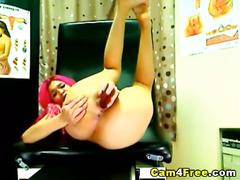 Pink-haired cutie's dildo driving show