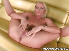 Horny blonde babe kathia nobili solo pussy show