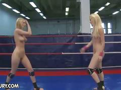 Nude wrestling turns into pussy licking