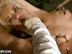 Blonde laraan abused in bondage video
