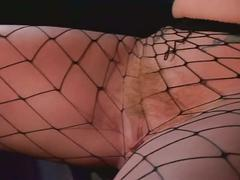 Red haired lusty slut in sizzling fishnets doubles