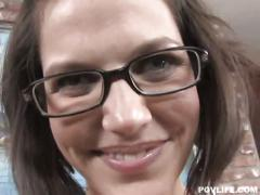 Nerdy brunette slut bobbi starr begging for sweet spunk