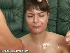 Milf loves a good threesome fuck and drinking piss