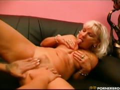 blonde, lesbian, brown hair, eating pussy, fingering pussy, girls kissing, licking pussy, mature amateur, toying pussy, white hair, young