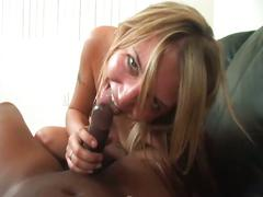 Cum starving blonde slut pov fuck with black cock