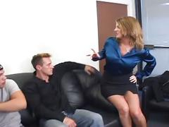 Sleazy delivery boys feast on hot boss' huge tits
